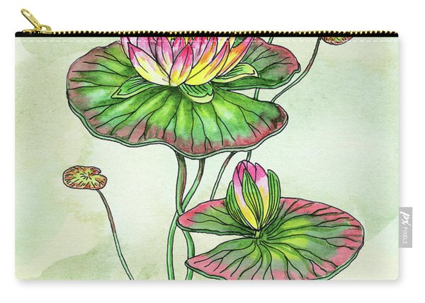 Watercolor Water Lily Botanical Flower Carry-all Pouch