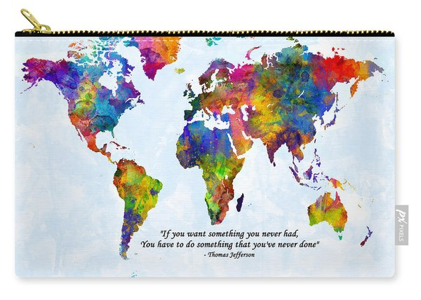 Watercolor World Map Custom Text Added Carry-all Pouch