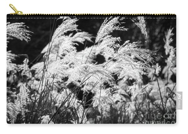 Weed Grass Black And White Carry-all Pouch