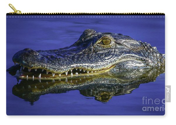 Carry-all Pouch featuring the photograph Wetlands Gator Close-up by Tom Claud