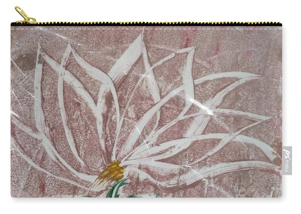 White Abstract Floral On Silverpastel Pink Carry-all Pouch