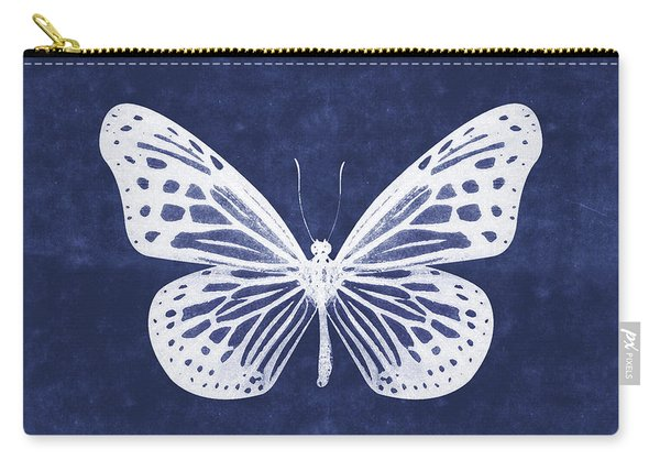 White And Indigo Butterfly- Art By Linda Woods Carry-all Pouch