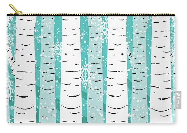 White Birch And Snow Carry-all Pouch