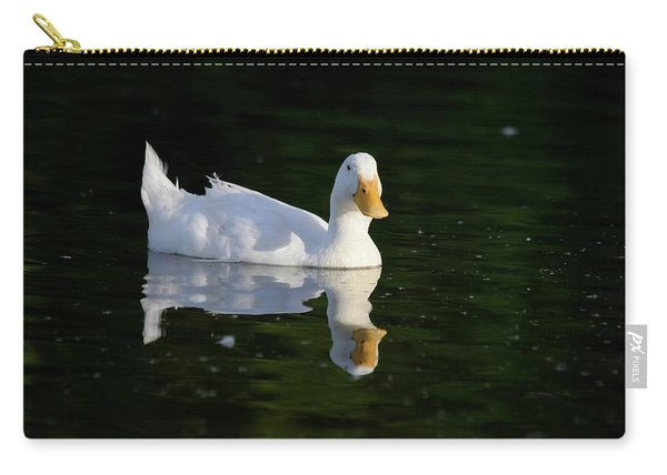 White Duck On Pond Carry-all Pouch