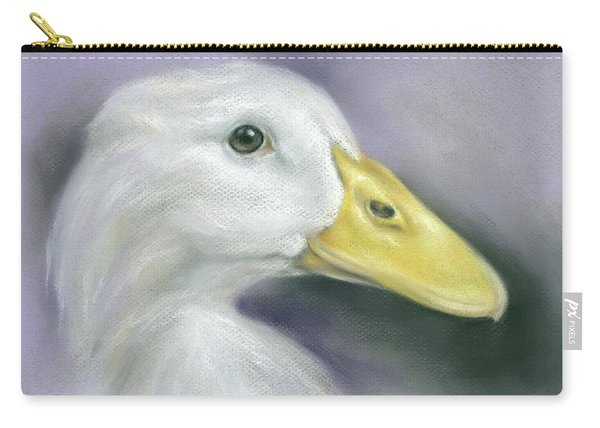 White Duck On Purple Carry-all Pouch