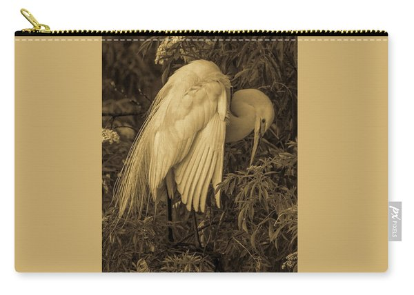 White Egret In Tree Carry-all Pouch