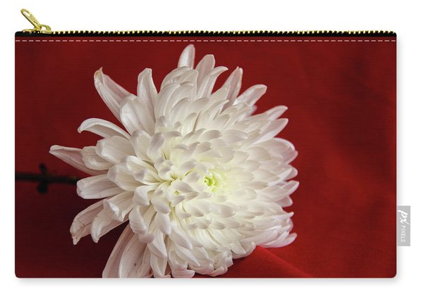 White Flower On Red-1 Carry-all Pouch
