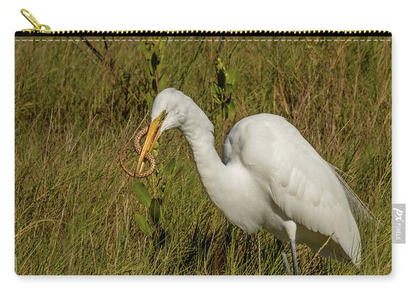 White Heron With Snake Carry-all Pouch