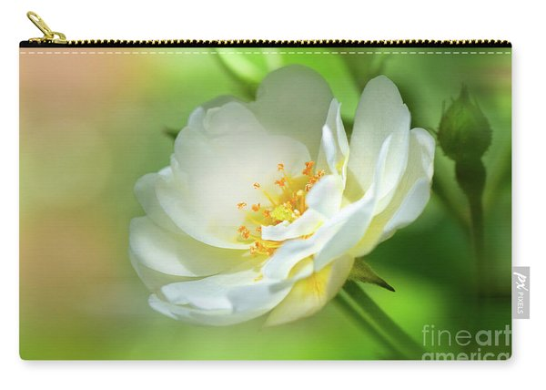 White Iceberg Rose Carry-all Pouch