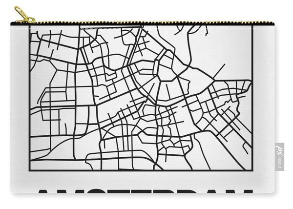 White Map Of Amsterdam Carry-all Pouch