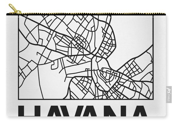 White Map Of Havana Carry-all Pouch