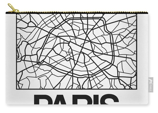 White Map Of Paris Carry-all Pouch