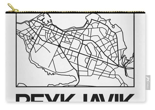 White Map Of Reykjavik Carry-all Pouch