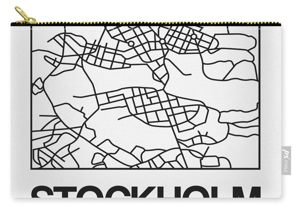 White Map Of Stockholm Carry-all Pouch