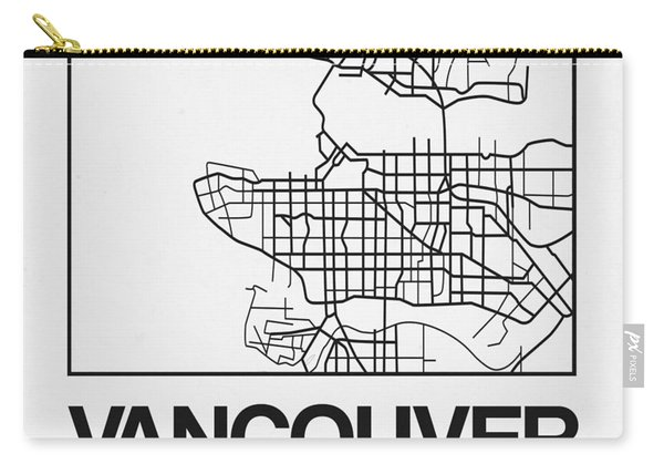 White Map Of Vancouver Carry-all Pouch