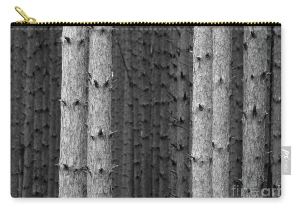 White Pines Black And White Carry-all Pouch
