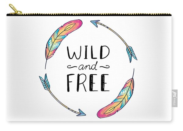 Wild And Free Colorful Feathers - Boho Chic Ethnic Nursery Art Poster Print Carry-all Pouch