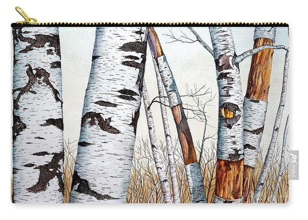Wild Birch Trees In The Forest In Watercolor Carry-all Pouch