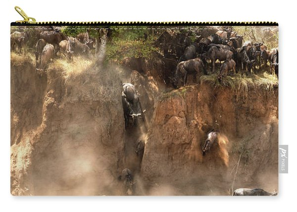Wildebeest Jump From The Banks Of The Mara  Carry-all Pouch