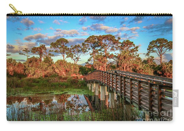 Carry-all Pouch featuring the photograph Winding Waters Boardwalk by Tom Claud