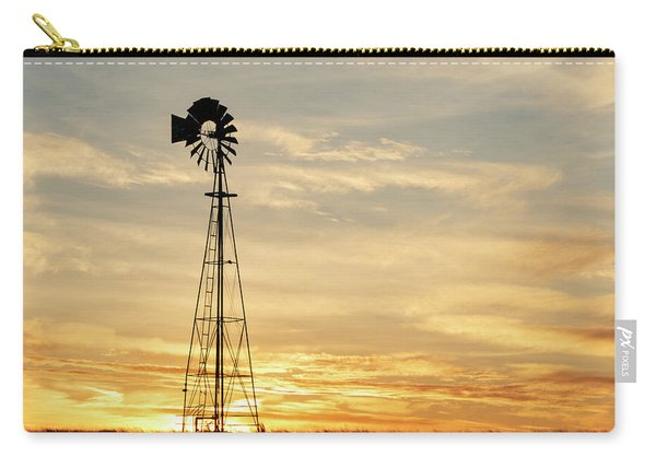 Carry-all Pouch featuring the photograph Windmill At Sunset 02 by Rob Graham