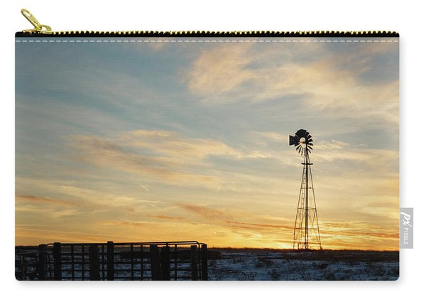 Carry-all Pouch featuring the photograph Windmill At Sunset 04 by Rob Graham