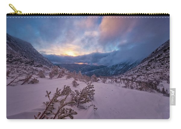 Carry-all Pouch featuring the photograph Windswept, Spring Sunrise In Tuckerman Ravine by Jeff Sinon