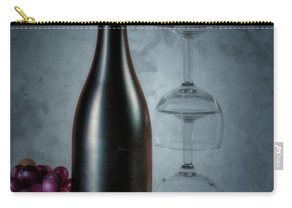 Wine Bottle And Two Glasses Carry-all Pouch