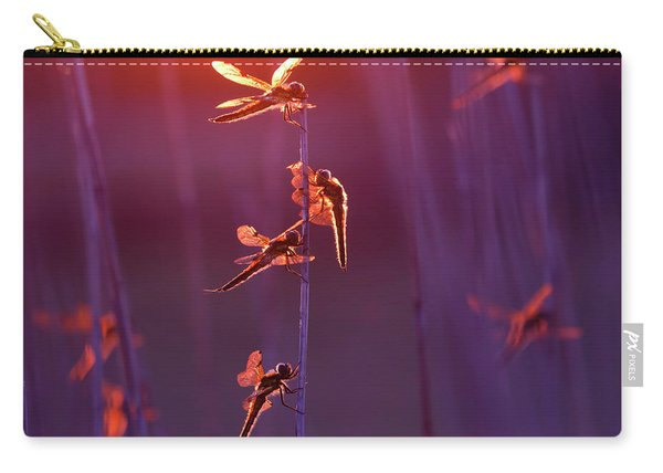 Winged Wonders - Dragonflies At Sunset Carry-all Pouch