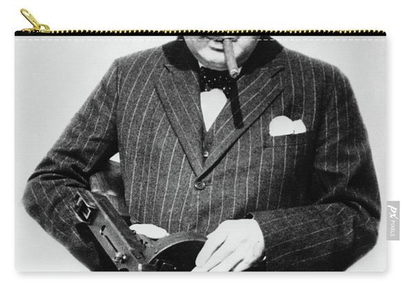 Winston Churchill With Tommy Gun Carry-all Pouch