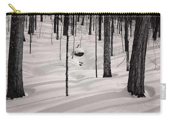 Carry-all Pouch featuring the photograph Winter Light In The Forest by Jeff Sinon