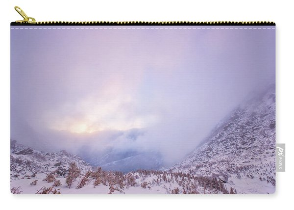 Carry-all Pouch featuring the photograph Winter Morning Light Tuckerman Ravine by Jeff Sinon