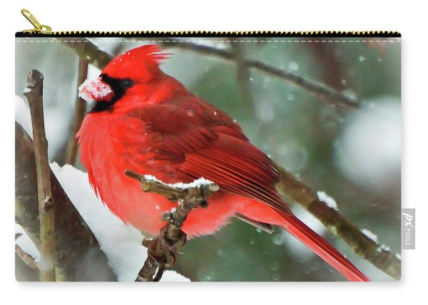 Winter Red Bird - Male Northern Cardinal With A Snow Beak Carry-all Pouch
