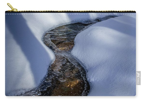 Carry-all Pouch featuring the photograph Winter Stream. by Jeff Sinon
