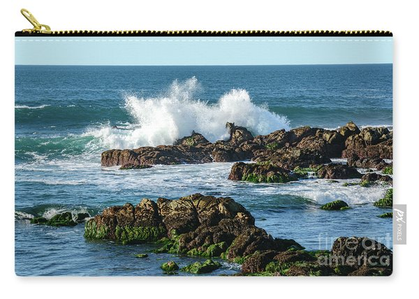 Winter Waves Hit Ancient Rocks No. 2 Carry-all Pouch