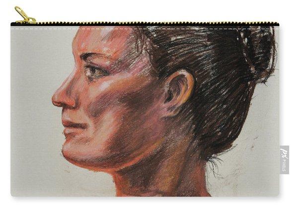 Woman Head Study Pastel Portrait  Carry-all Pouch