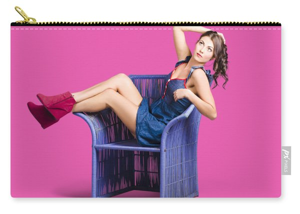 Woman Sitting On A Chair Carry-all Pouch