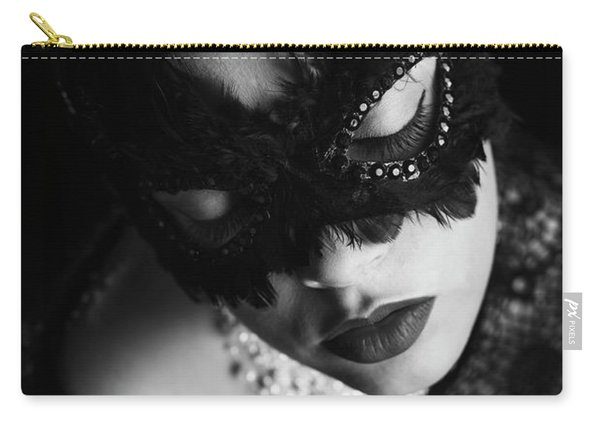 Woman With Elegant Mask Carry-all Pouch