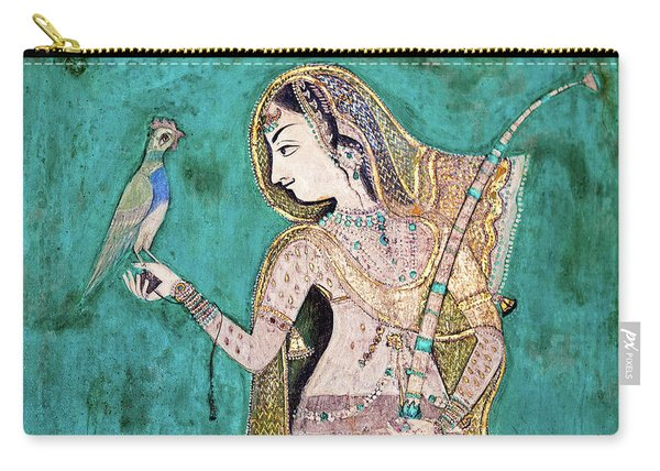 Woman With Parrot Carry-all Pouch