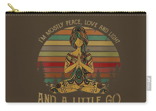 Womens I'm Mostly Peace Love And Light And Little Go Fuck Yourself V-neck T-shirt Carry-all Pouch