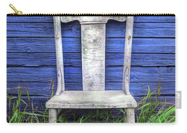Wooden Chair Against The Blue Wall Carry-all Pouch