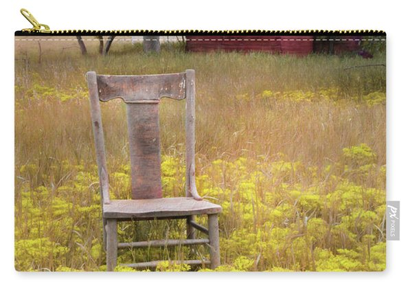 Wooden Chair In Wildflowers Carry-all Pouch