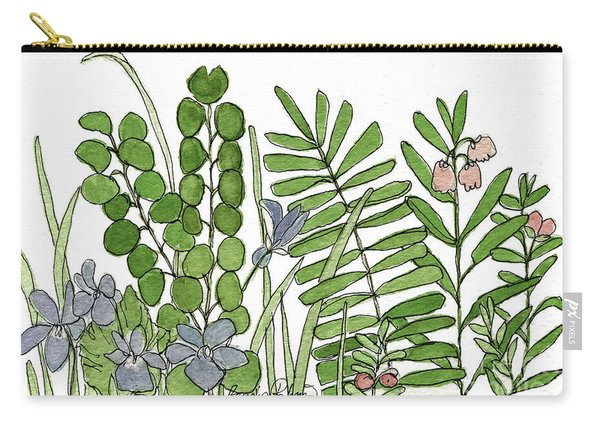 Woodland Ferns Violets Nature Illustration Carry-all Pouch