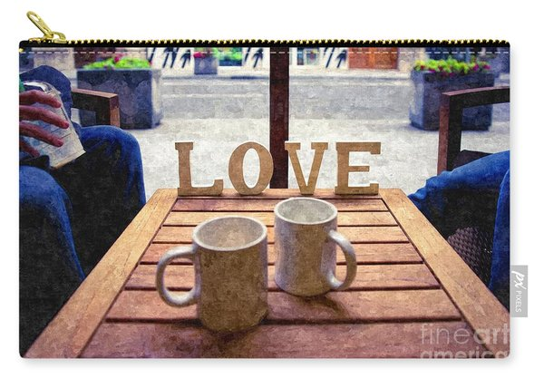 Word Love Next To Two Cups Of Coffee On A Table In A Cafeteria,  Carry-all Pouch