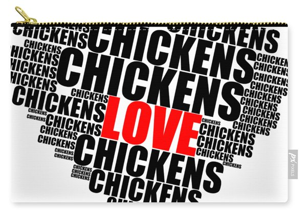 Wordcloud Love Chickens Black Carry-all Pouch
