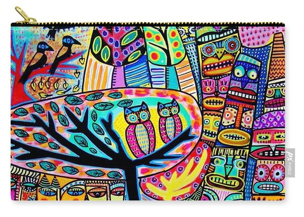 Owl Lovebirds In Totem Pole Forest Carry-all Pouch