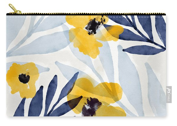 Yellow And Navy 2- Floral Art By Linda Woods Carry-all Pouch