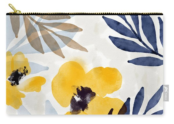 Yellow And Navy 3- Floral Art By Linda Woods Carry-all Pouch