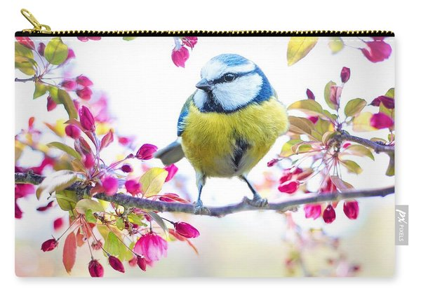 Yellow Blue Bird With Flowers Carry-all Pouch