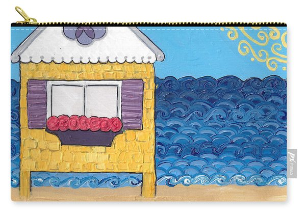 Yellow Cottage On The Beach Carry-all Pouch